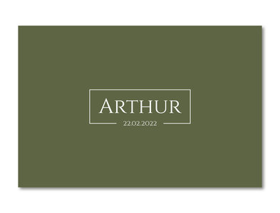 Geboortekaartje Arthur mosgroen