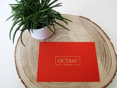 Geboortekaartje Octaaf oranje foliedruk