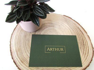 Geboortekaartje Arthur mosgroen met foliedruk